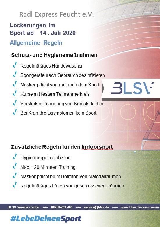 Neues Rahmenhygienekonzept Sport des BLSV online
